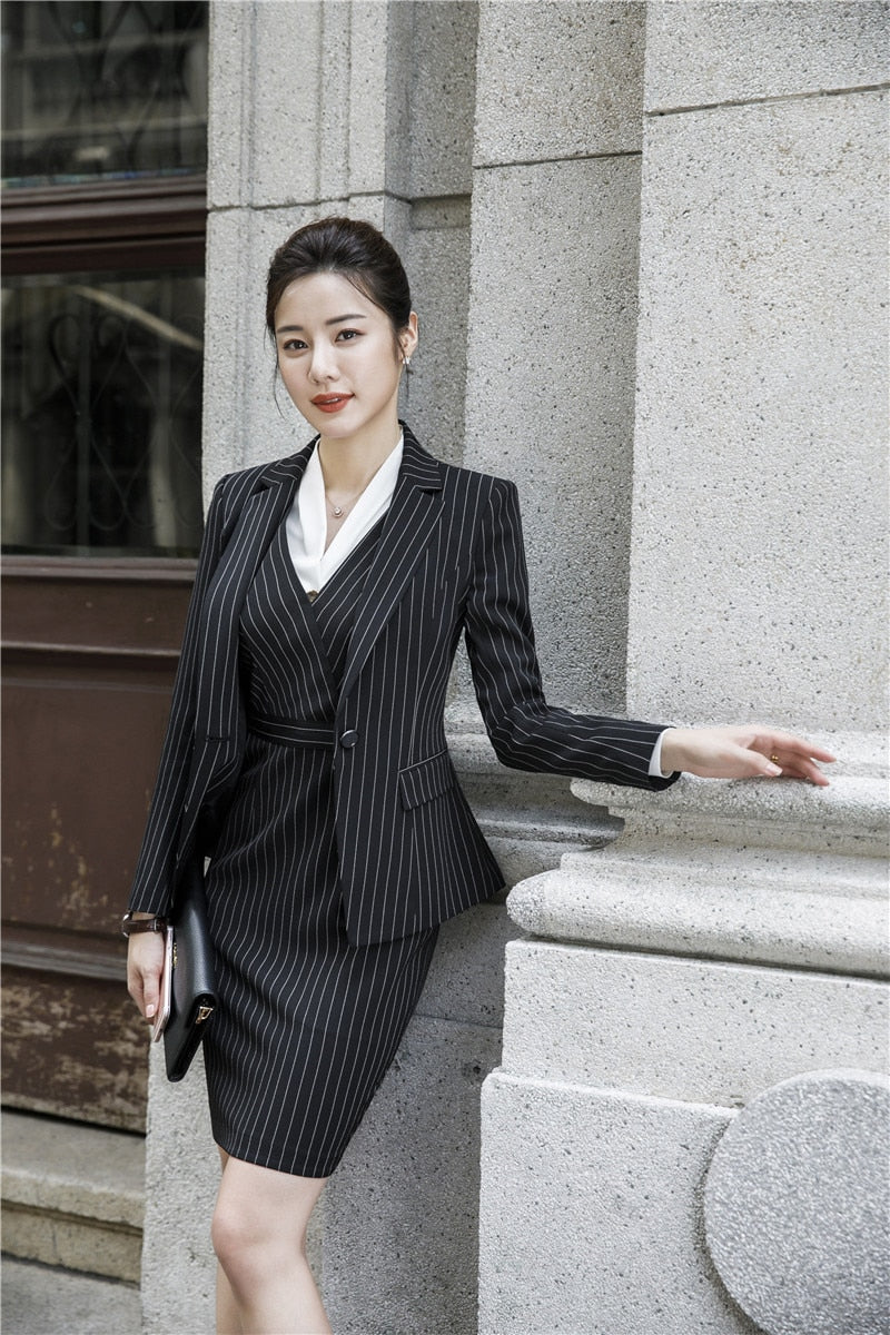 Fashion Striped Women Blazers Business Suits With Dress and Blazers & Jackets Coat Creationsg