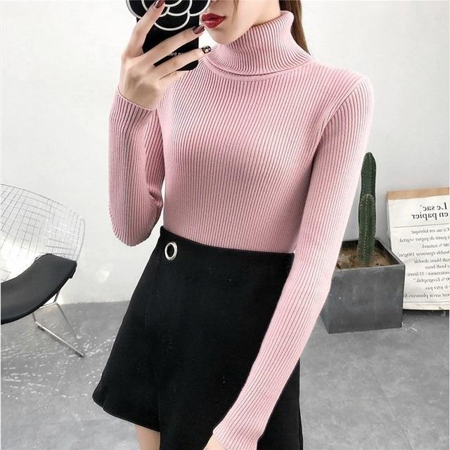 Autumn Winter Knitted Jumper Tops turtleneck Pullovers Casual Sweaters TIKSUPER