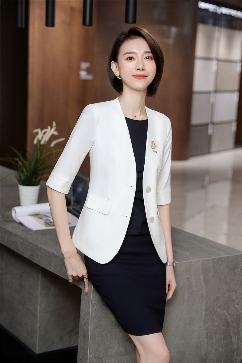 Spring-Summer Half Sleeve Business Suits With Dress and Jackets Coat Creationsg