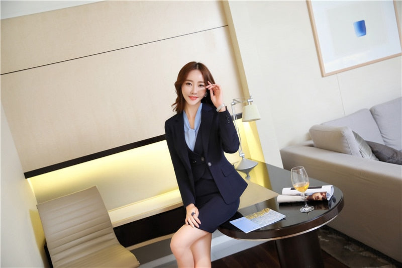 Elegant Blue Formal Ladies Uniform Styles Blazers Suits With Jackets And Dress Blazer Outfits Set Creationsg