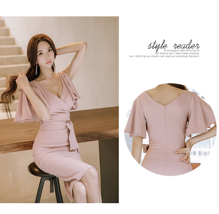 H Han Queen Summer Women Bow Sexy Pink Bodycon
