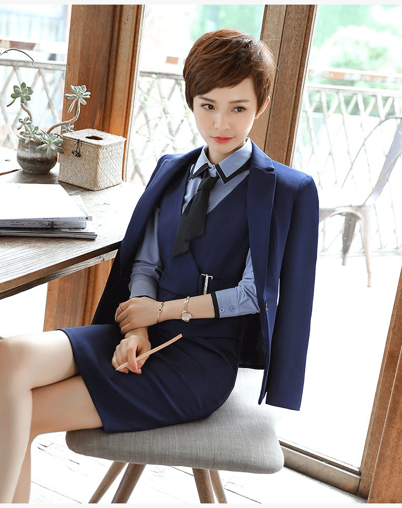 3 pieces set business formal slim long sleeve blazer with office uniform dress Creationsg