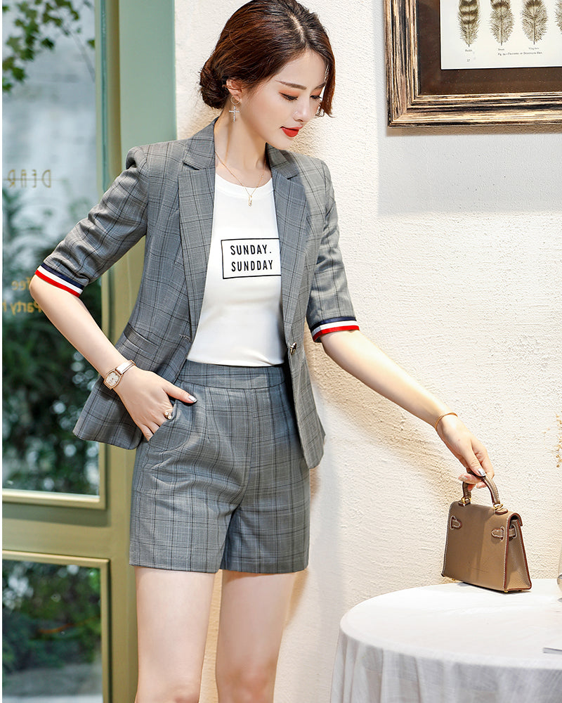 Half Sleeve Blazer And Short Pant Set Chic Suit Creationsg