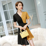 Korean Splice Irregular Dress Turn-down Collar asymmetric Patchwork dress Creationsg