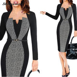creationsg - Summer Women Retro Contrast Patchwork Belt Wear to Work Business vestidos Dress Suit