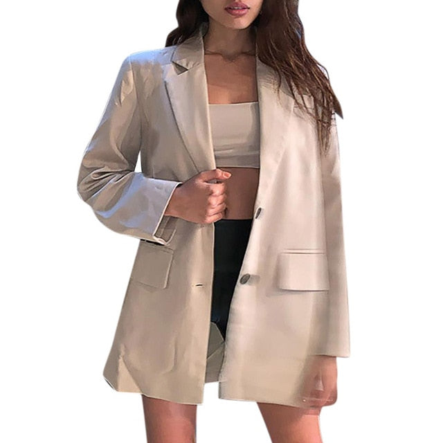 Blazer Suit Jackets Long Solid Coats Office Ladies Turn Down Collar Jacket