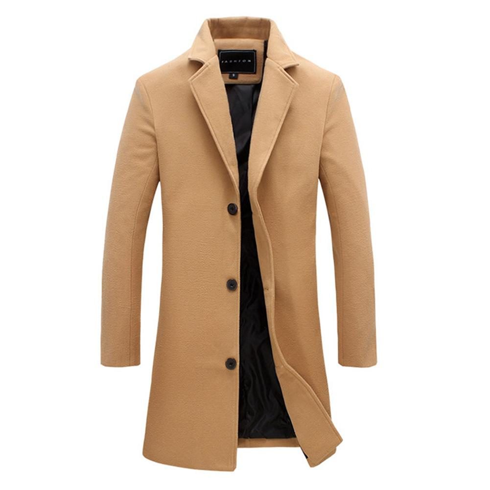 Fashion Men's Wool Coat Winter Warm Solid Color Long Trench Jacket Creationsg