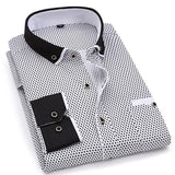 Fashion Casual Long Sleeved Printed shirt Slim Fit Men Clothing Creationsg