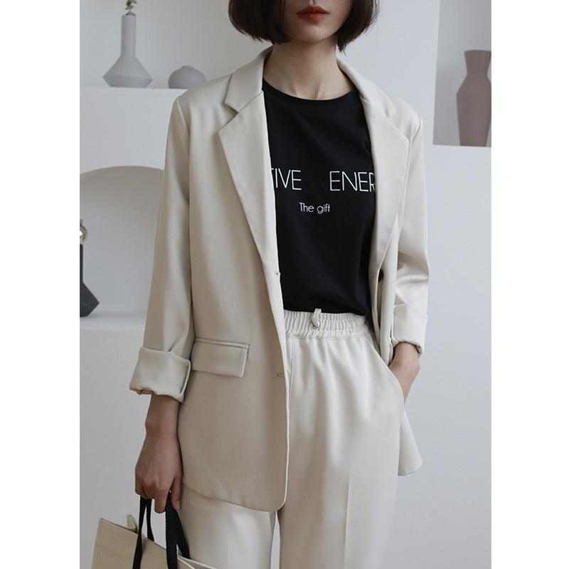 2019 Spring New Style Solid Color Short Simple Leisure Thin Coat Long Sleeve women blazer Creationsg