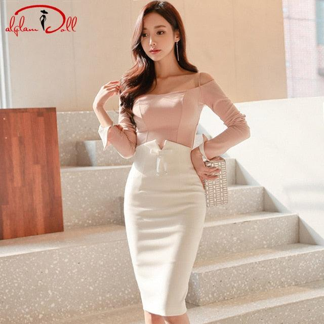 2019 Spring Strapless Full Sleeve Pink Top Shirt Sexy Bodycon Pencil White Skirt Creationsg
