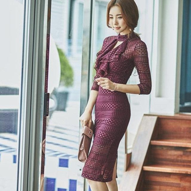 2019 Spring Womens high quality 3/4 Sleeve Office Midi Bandage Sexy Party Dress Creationsg