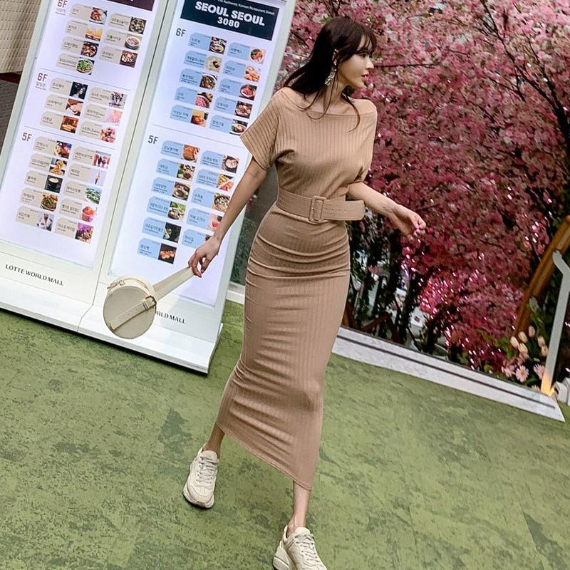 2019 Summer High Elastic Bodycon Long Dress Batwing Sleeve Knitted Dress Creationsg