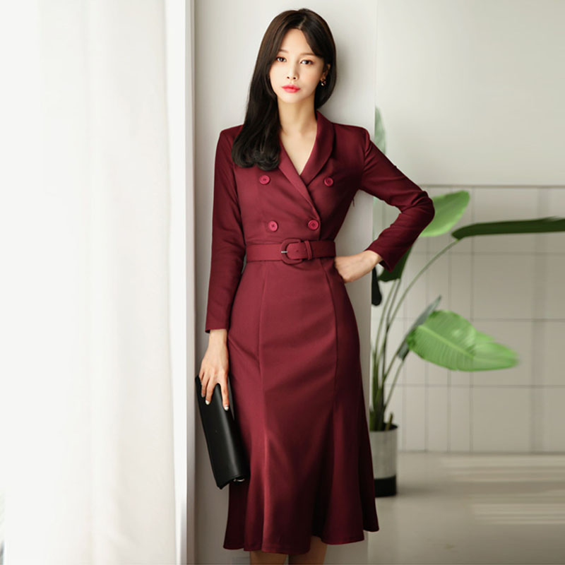 Women Elegant Work Office Lady Business Double-Breasted Sashes Formal Dress Creationsg
