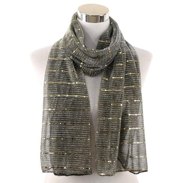 2019 Shiny Shimmer Sequins Gold Silver Head Scarfs Creationsg