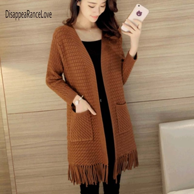 Women Sweater Elegant long knitting cardigan knit sweater