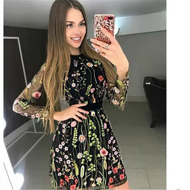 Women Vintage Floral Embroidery Sheer Mesh Summer Dress Creationsg