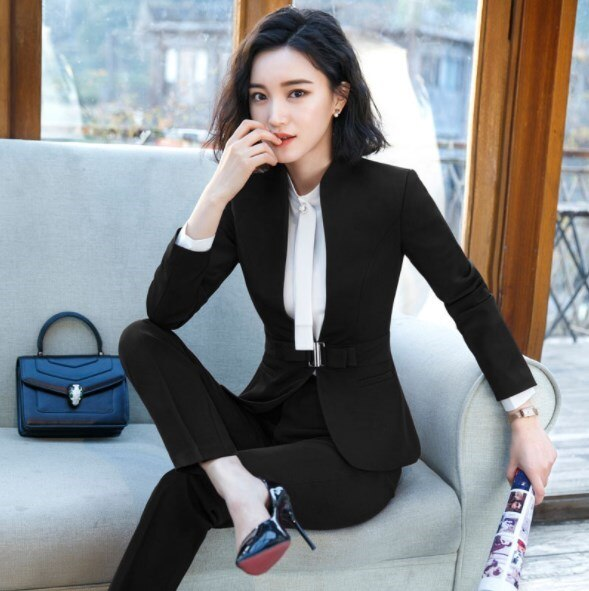 2019 Women's Formal Elegant Blazer and Trousers 2 Piece Suits Work Wear Sets Business Pant Suits Creationsg