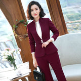 2019 Women's Formal Elegant Blazer and Trousers 2 Piece Suits Work Wear Sets Business Pant Suits