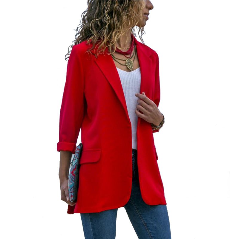 New spring Women Blazer Long Sleeve Open Front Lightweight Casual Office Creationsg