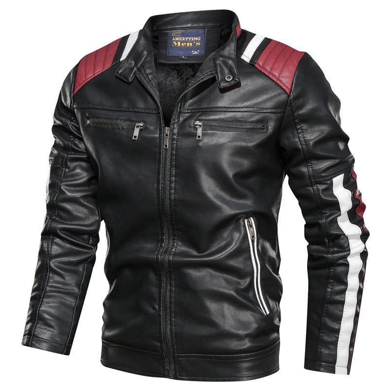 Autumn Winter Men's Leather Jacket Casual Fashion Stand Creationsg