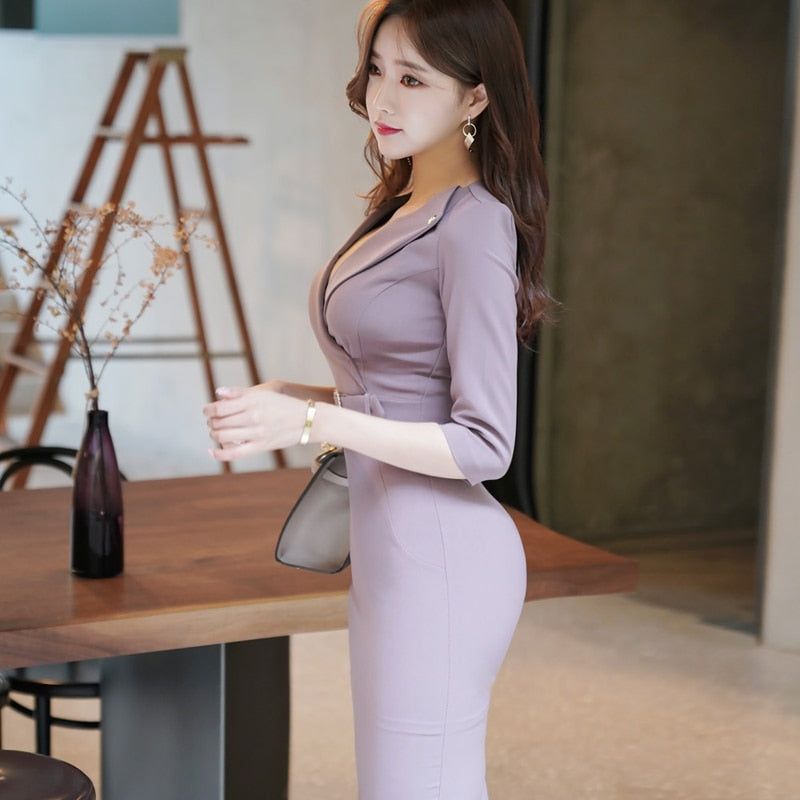 Spring OL Notched Sheath Light Purple Sexy Solid Office Work Dress Creationsg