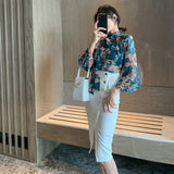 Women Official Floral Printed Lantern Sleeve Chiffon Blouse and Denim Skirt Creationsg