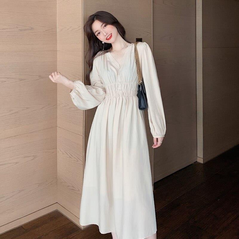 Spring Slim Dress Girls Boho Solid Women Vintage Dress Party Office TIKSUPER