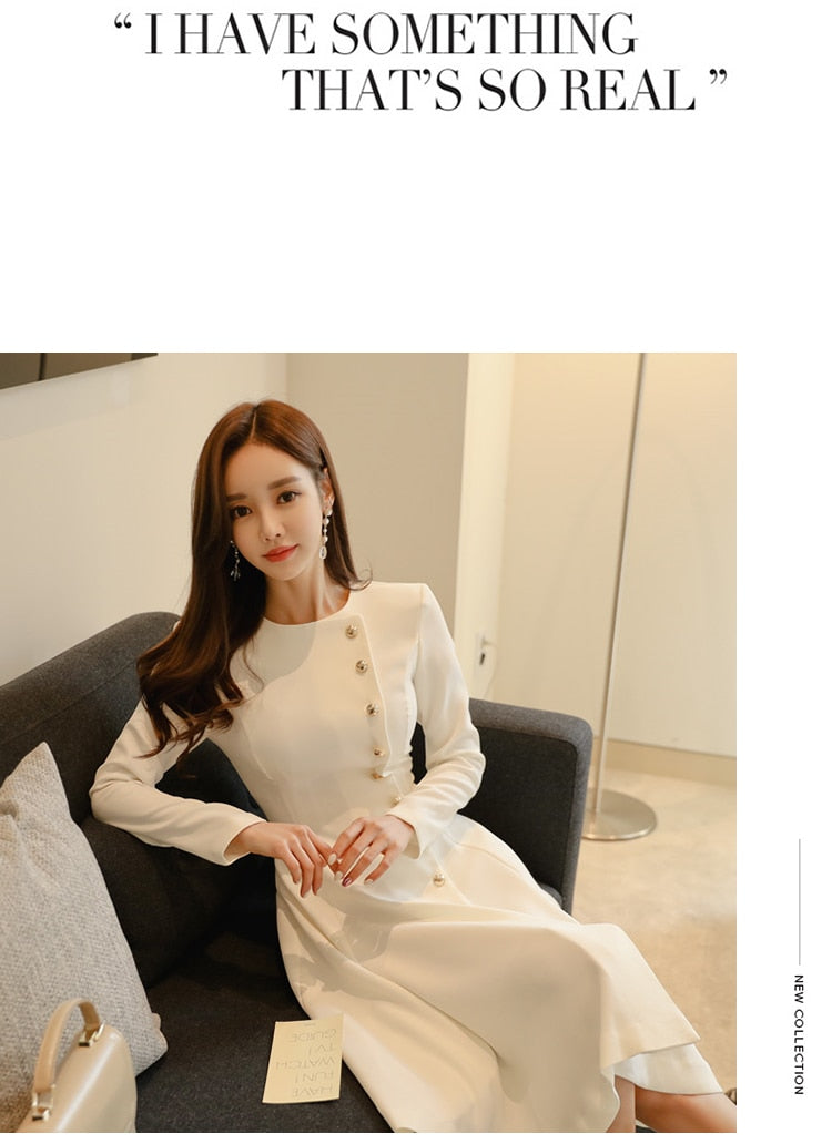 Elegant Casual Long Sleeve Dress Office Lady Dress Creationsg