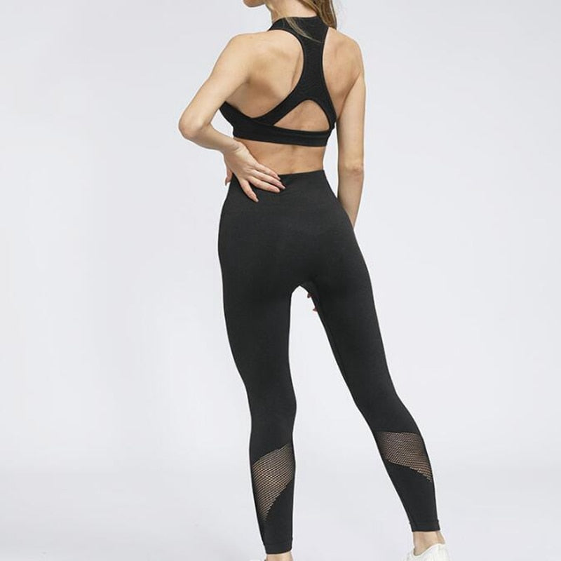 2PCS Mesh Seamless yoga set Sports Suits Women's Yoga Set Creationsg