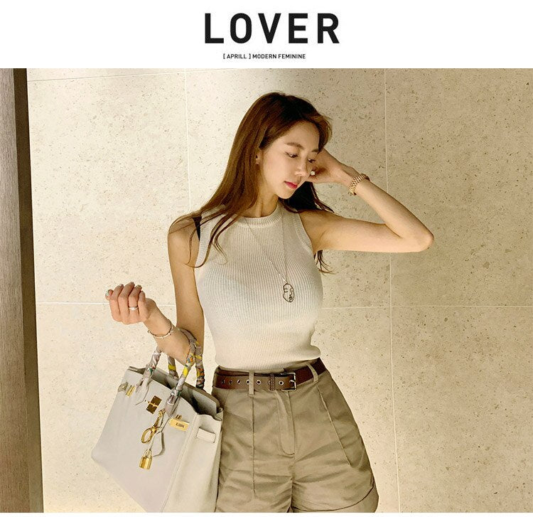 Summer Two Piece Women's Cloth Knitted White Sleeveless Creationsg
