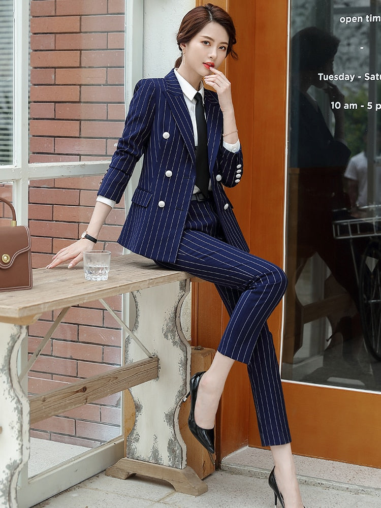 High Quality 2 Piece Set Striped Formal Pant Suit Soft and Comfortable Blazer Creationsg
