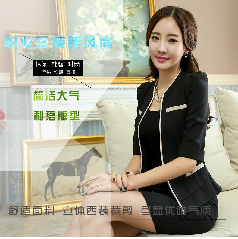 2 Pieces Set New style Black Half Sleeve Suit formal Office work wear Creationsg