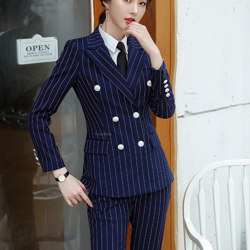 High Quality 2 Piece Set Striped Formal Pant Suit Soft and Comfortable Blazer
