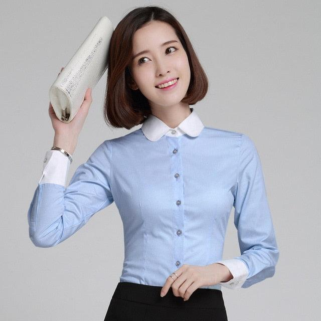 5XL Plus Size Women Blouses 2019 New Spring Office Lady Occupational Shirts Creationsg