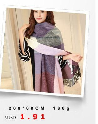 Autumn Winter Female Wool Plaid Scarf Creationsg