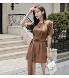 Summer Khaki Jumpsuit Sashes High Waist Casual Solid Women Playsuits