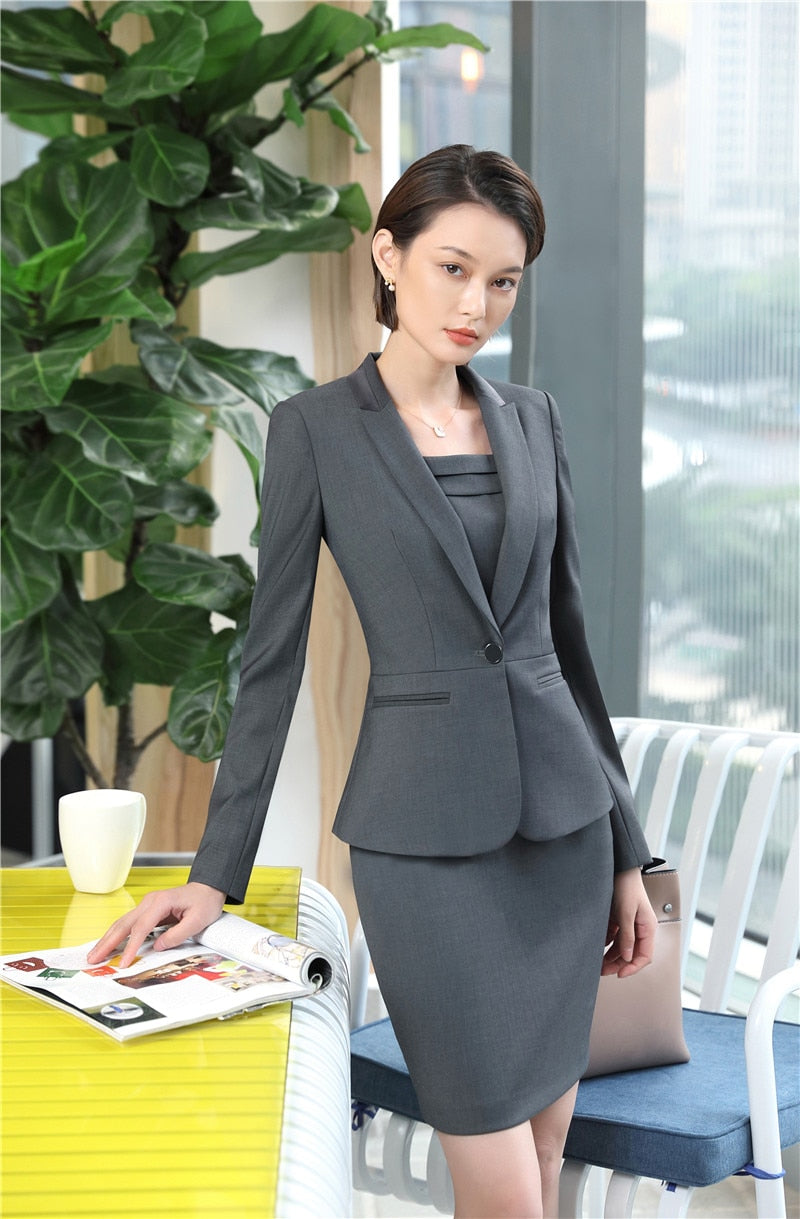 High Quality Fabric Elegant Grey Slim Fashion Blazers Suits With Jackets And Dress Sets Creationsg
