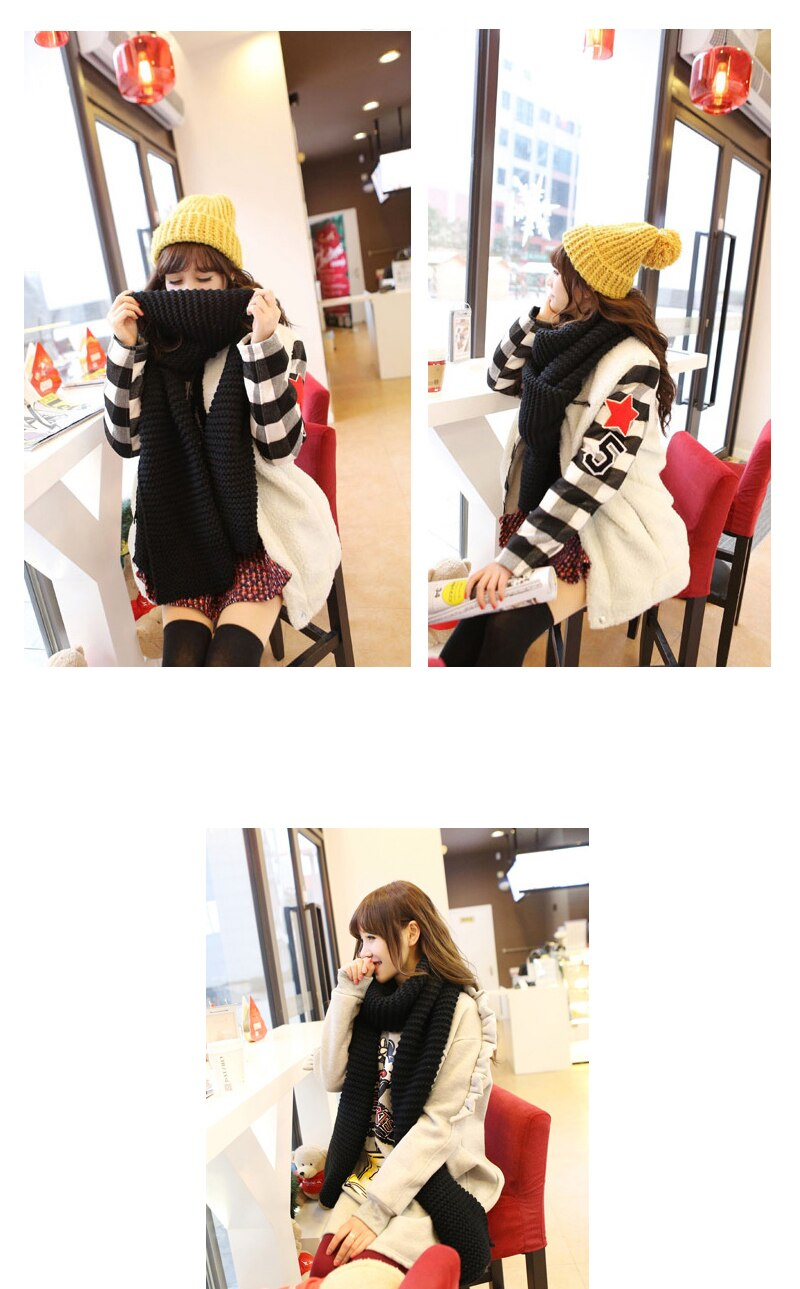 Korean wool female student long thick Beige scarf Creationsg