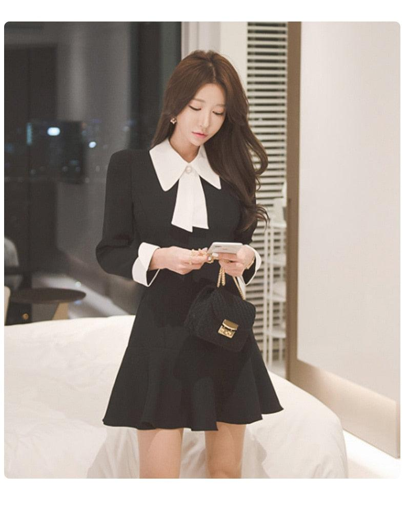 Autumn Black Long Sleeve Elegant office work Dress Creationsg