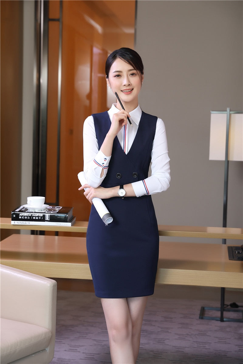 New Fashion Dress With Blouse For Ladies Formal Work Wear Uniform Styles Creationsg