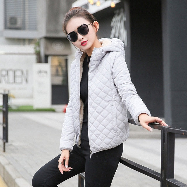 New Parkas basic jackets Female Women Winter plus velvet Creationsg
