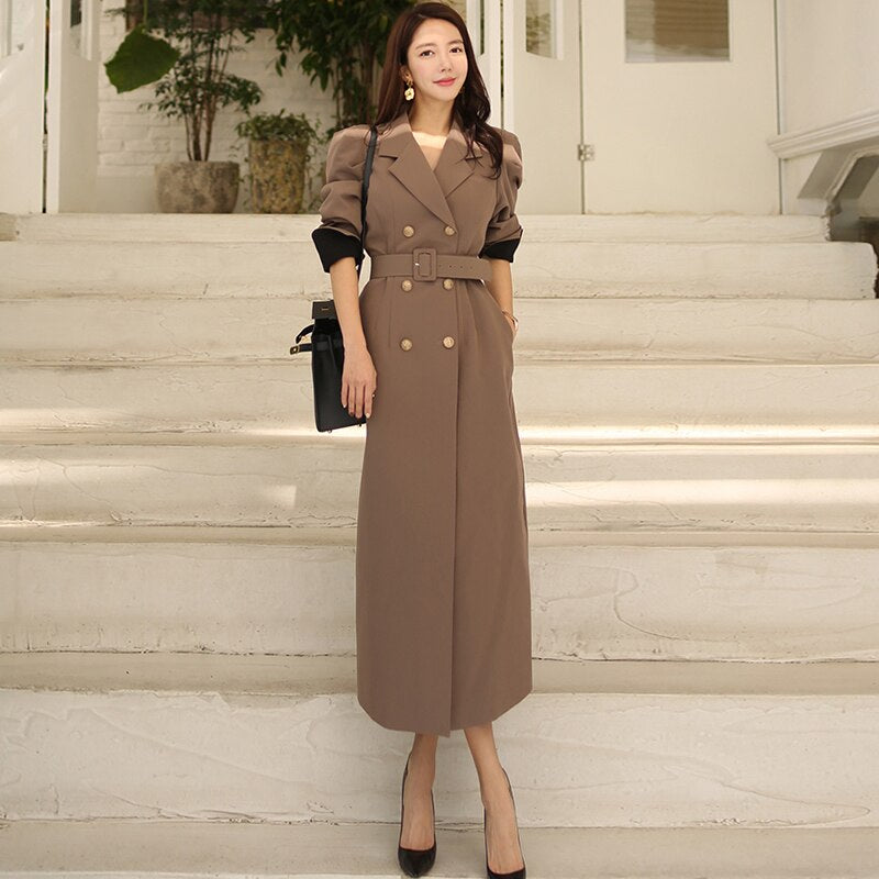 Double Breasted Solid Belt Office Cloth OL Wind Coat Creationsg