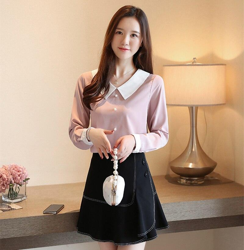 Autumn Pink Women Fashion Long Sleeve White Women Shirts Tops and Blouses Creationsg