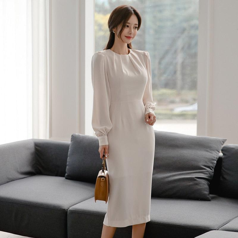 Autumn Puff Long Sleeved Cloth White Solid Pencil Sexy Women's OL Dress Creationsg