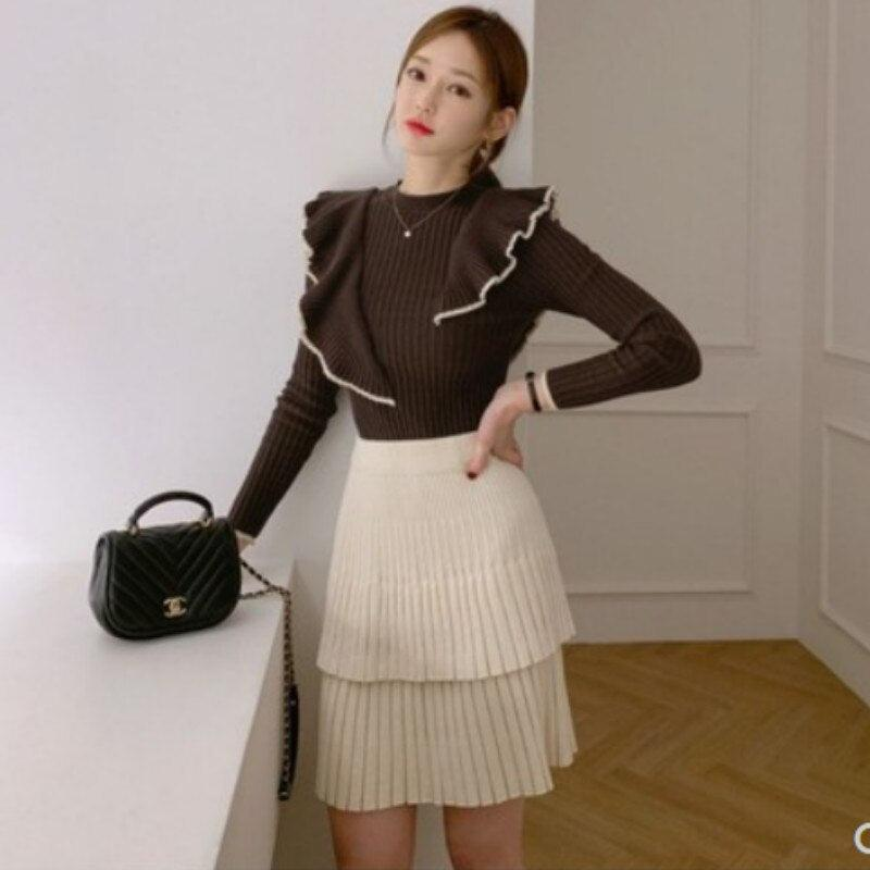 Autumn Ruffles Long Sleeved Slim Knitted Cloth
