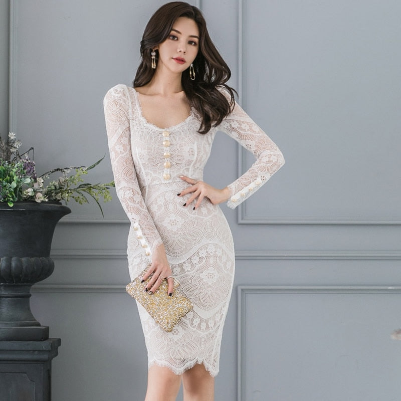 New Autumn Sexy Lace Elegant Pencil Bodycon Dress Creationsg