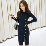 Autumn Slit Slim Bodycon Sheath Midi Sweater Dress Creationsg
