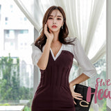 Long sleeve Bodycon Dress Office Lady patchwork Dresses Creationsg
