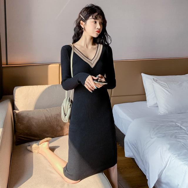 Autumn Spring Sexy Women Bodycon Solid Sweater Dress Creationsg