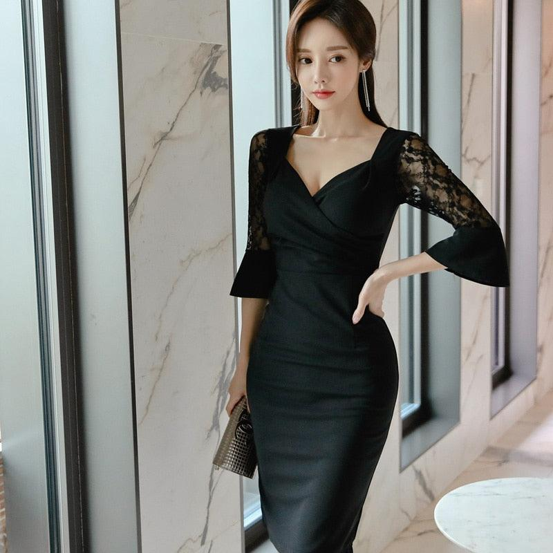 Autumn Spring Women Midi Bodycon Dress Deep V Neck Club Black Sexy Party Dress Creationsg
